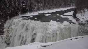 News video: New York's Letchworth Park Waterfalls Freeze Over in Bitter Cold
