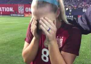 News video: US Women's Soccer Player Breaks Down After Hearing Husband Is Heading for the Super Bowl