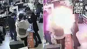 News video: iPhone battery explodes into a fireball after a man bites into it