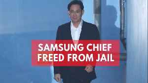 News video: Samsung Chief Jay Y Lee walks free as South Korea court suspends prison term