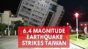 News video: Dramatic footage shows tilted buildings as 6.4-magnitude earthquake strikes Taiwan