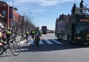 News video: Jason Kelce Rides a Police Bike During Philadelphia Eagles Homecoming Parade