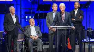News video: Obama Laughs And Dances With Ex-Presidents At The Us Hurricanes Relief Concert
