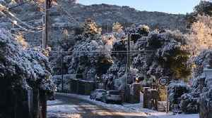 News video: La Mola Mountain, Near Barcelona, Covered in Snow as Region Experiences Cold Snap