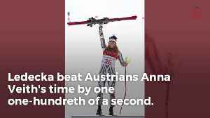 News video: Czech Republic Athlete Ester Ledecka Wins Gold After Borrowing Mikaela Shiffrin's Skis