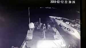 News video: Turkish coast guard vessel crashes into Greek patrol boat
