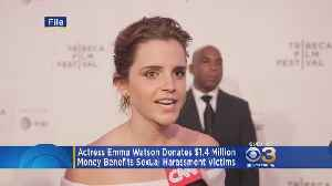 News video: Emma Watson Donates $1.4 Million To Benefit Sexual Harassment Victims
