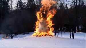 News video: Taylor Swift Lyric Comes To Life As Family Burns Snowman