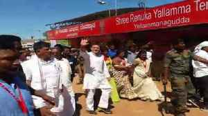 News video: Rahul Gandhi Visits Yellamma Temple In Karnataka