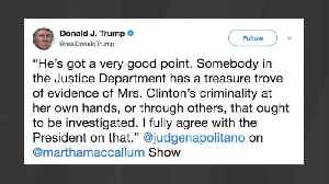 News video: Trump Tweets About 'A Treasure Trove Of Evidence Of Mrs. Clinton's Criminality'