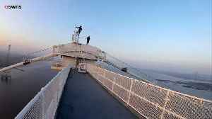 News video: See the Terrifying Moment Daredevils Climb to Top of Severn Bridge