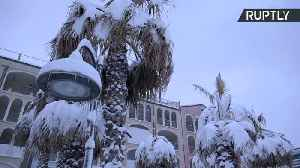 News video: Heavy Snowfall Blankets Beaches and Palm Trees on Italy's Adriatic Coast