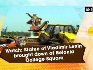 News video: Watch: Statue of Vladimir Lenin brought down at Belonia College Square
