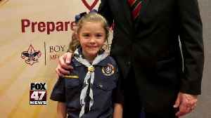 News video: First girl cub scout
