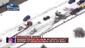 News video: 40-50 vehicles & semis involved in accident on I-94 in Jackson County