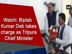 News video: Watch: Biplab Kumar Deb takes charge as Tripura Chief Minister
