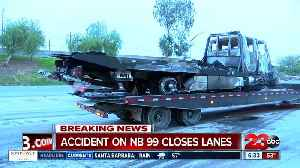 News video: Big rig fire shuts down highway 99