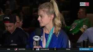 News video: Gold medalist Emily Pfalzer joins Panthers intermission report