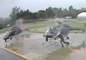 News video: Video Shows Helicopter Blades Collide at Pasadena Police Heliport