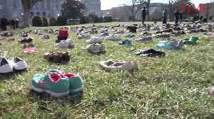 News video: Activists Lay Out Shoes at Capitol Symbolizing Children Victims of Gun Violence