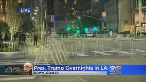 News video: President Trump Arrives In LA For GOP Fundraiser, LAPD Warns Of Street Closures, Congestion