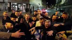 News video: Punters jive to 'Staying Alive' on high-street after first day's winnings