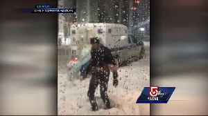 News video: Elsa pushes Boston police wagon out of snow