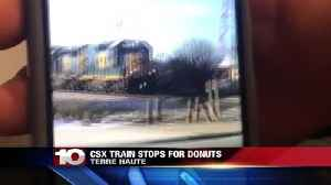 News video: CSX Train stops for Square Donuts