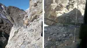 News video: 'A single mistake can lead to death in a deep valley': Road surrounding Himalayas with 15,000ft drop