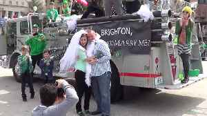News video: Guy Proposes to Girlfriend During St. Patricks Day Parade