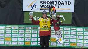 News video: Corning tops Snowboard Slopestyle World Cup leaderboard with victory in Seiser Alm