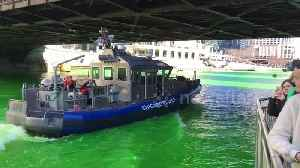 News video: Chicago River dyed green for St Patrick's Day
