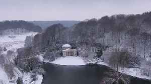 News video: Drone video of world-famous Stourhead gardens enveloped in snow