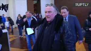 News video: Gerard Depardieu among expatriates voting in Russian presidential election