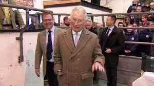 News video: Prince Charles 'cracks' joke about staring at cow's bottom
