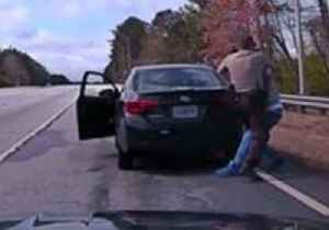 News video: 'Crazy Incident' Sees Traffic Stop Suspect Wrestle With Officer Before Driving Off