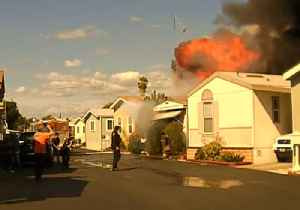 News video: California Police Rescue Man from Fire Moments Before Explosion