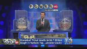 News video: Powerball Jackpot Ticket Worth Nearly $457M Sold In Lancaster County