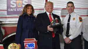News video: Trump visits New Hampshire firefighters