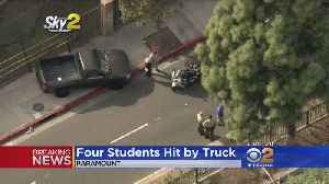 News video: 4 Students Hospitalized, Struck By Car Outside Paramount High School