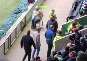 News video: Soccer Fan Leaps Out of Wheelchair During Five-Goal Thriller
