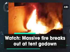 News video: Watch: Massive fire breaks out at tent godown