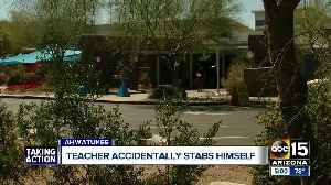 News video: Teacher accidentally stabs himself during science demonstration