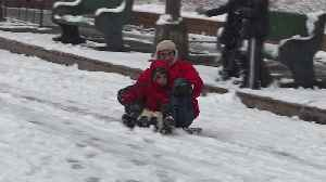 New York Kids Enjoy Snow Day Thanks to Nor`easter