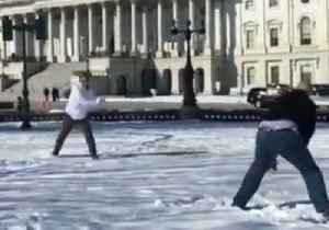 News video: Cory Booker Loses to Jeff Flake in Snowball Duel on Capitol Hill