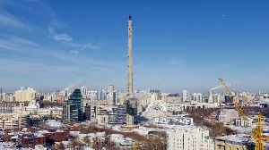 News video: Huge TV tower demolished ahead of Russia World Cup