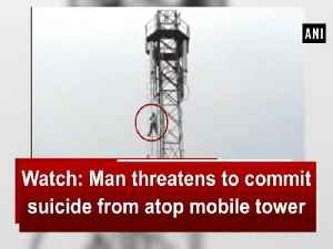 News video: Watch: Man threatens to commit suicide from atop mobile tower