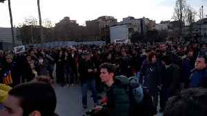 News video: Catalan Independence Protesters Gather at Barcelona's Sants Railway Station