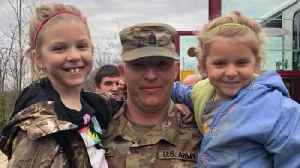 News video: Military Dad Dresses as Firefighter in Surprise Reunion With Daughters