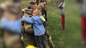 News video: Military Dad Surprises Daughters As Firefighter When Coming Home From Afghanistan